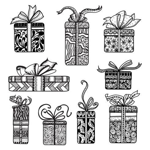 Dekorativa presentförpackningar med svart klotter vektor