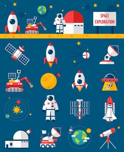 Weltraum-Kosmos-Erforschungs-flache Ikonen eingestellt vektor