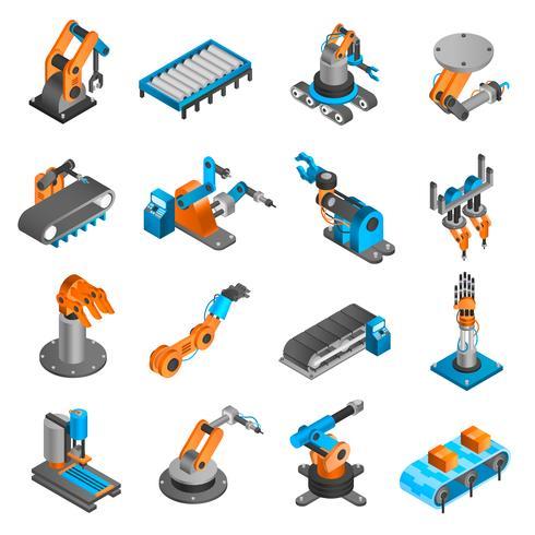 Industrielle Roboter isometrische Symbole vektor