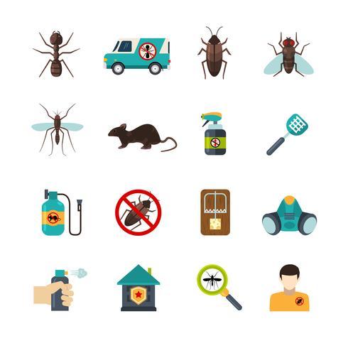 exterminator skadedjurskontroll platt ikoner uppsättning vektor