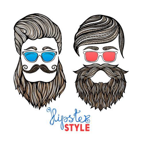 Hipsters huvuden färgade glasögon doodle piktogram vektor