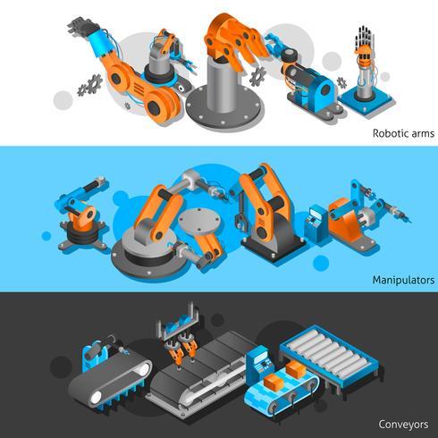 Industrieroboter Banner gesetzt vektor