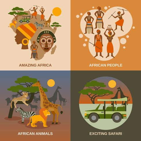 Afrika-Konzeptikonen eingestellt vektor