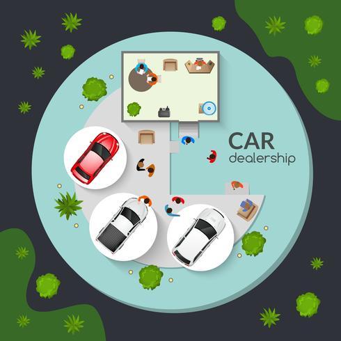 Bilhandlare Top View Flat Poster vektor