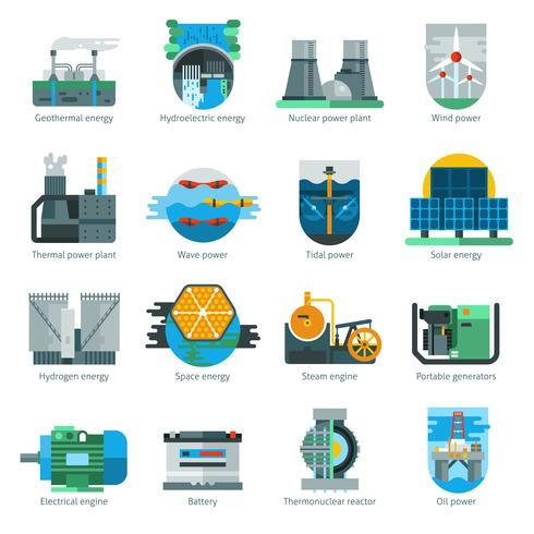 Energiproduktion ikoner vektor
