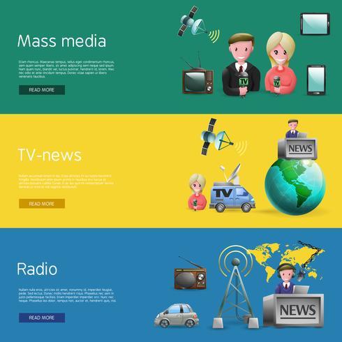 Horizontale Medienkanäle eingestellt vektor