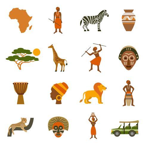 Afrika Ikoner Set vektor