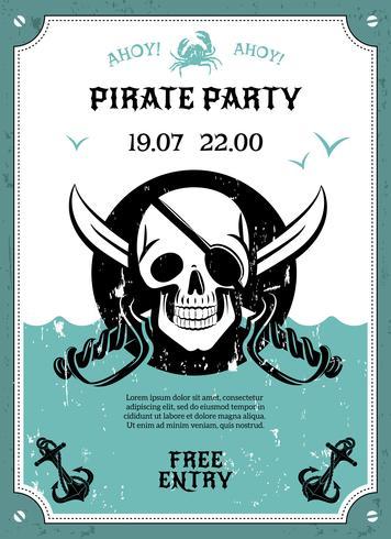 Piratkopiera partiaffischen med skalle vektor