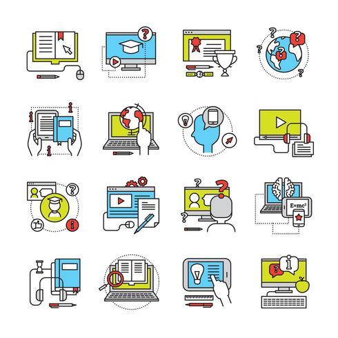 online utbildning platt ikonuppsättning vektor