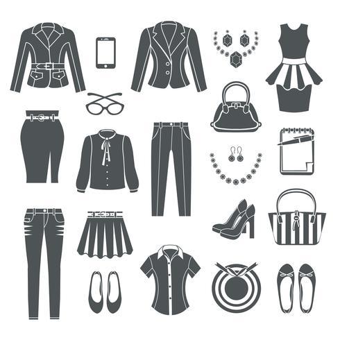 Moderna kvinna kläder svarta ikoner vektor