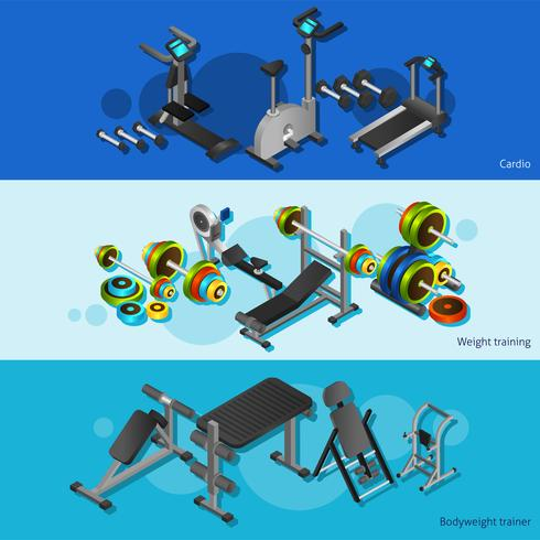 Fitnessutrustning Posters Set vektor