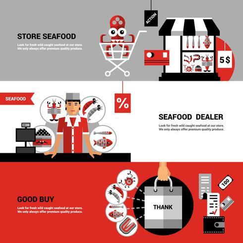 Försäljning av skaldjur Horisontala Banderoller vektor