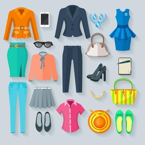 Färg Kvinna Kläder Flat Icons Set vektor