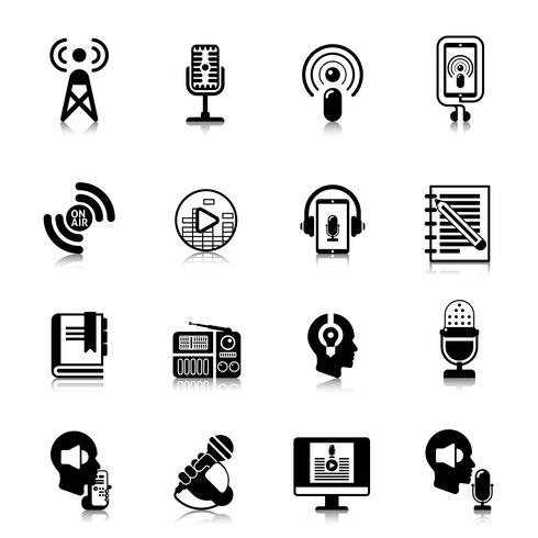Podcast-schwarzes Ikonen-Kanal-Konzept vektor