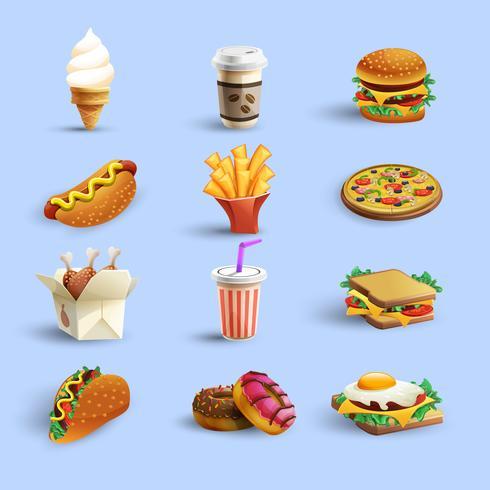 Fastfood Ikoner Cartoon Set vektor