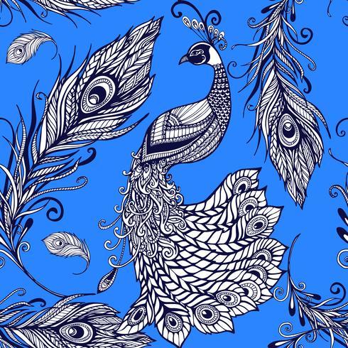 Påfågelfjäder fjädrar sömlös bakgrundsmönster vektor