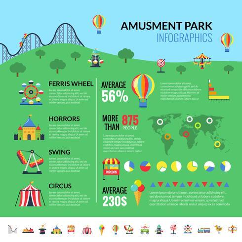Amusemennt Park Sevärdheter Besökare Infographics vektor