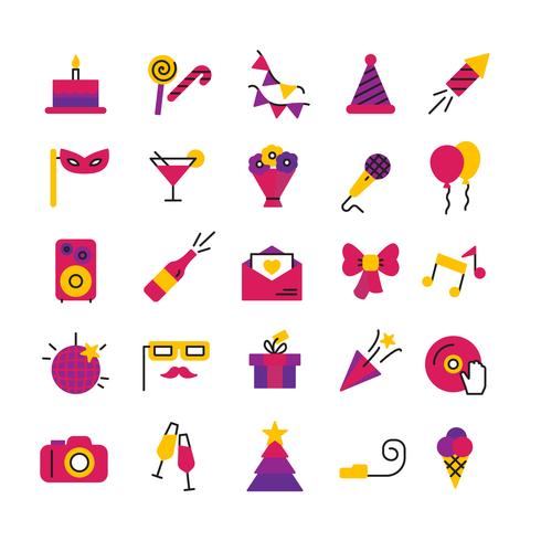 Feier Party Icons Set vektor