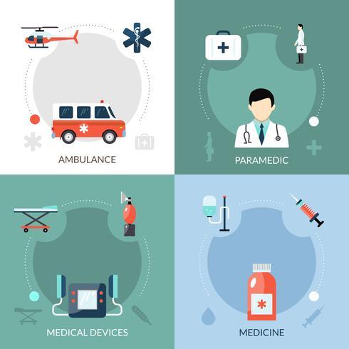 Rettungssanitäter Icons Set vektor