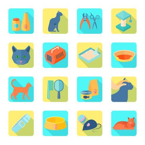 Plana ikoner katt uppsättning sned skugga vektor