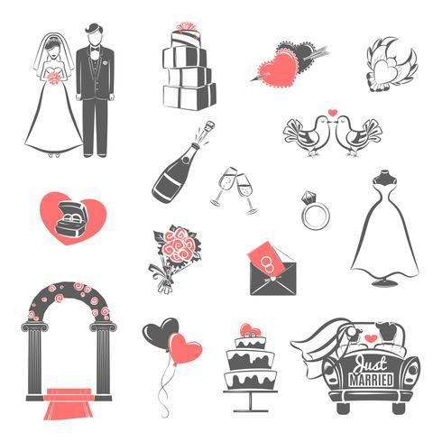 Schwarze rote Ikonen des Hochzeitskonzeptes eingestellt vektor