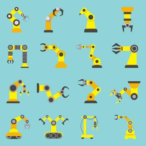 Roboterarm-flache gelbe Ikonen eingestellt vektor