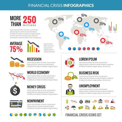 Statistisches Infografiken-Layout der Finanzkrise vektor