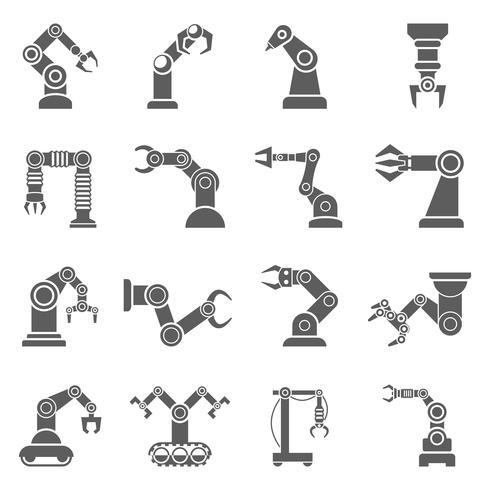 Roboterarm-schwarze Ikonen eingestellt vektor