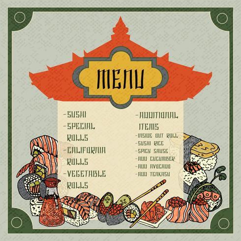 Asiatisches Essen Menü vektor
