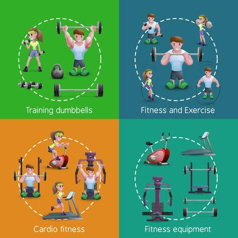 Set med 2x2 fitnessbilder vektor