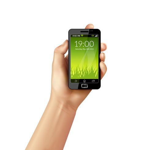 Hand med mobiltelefon vektor