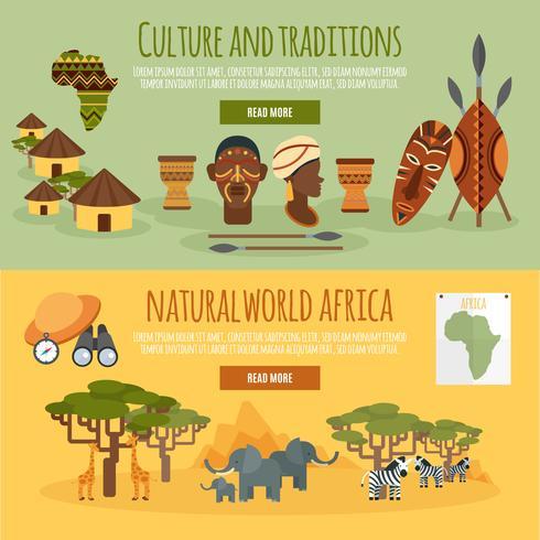 Afrika 2 platta banderoller vektor