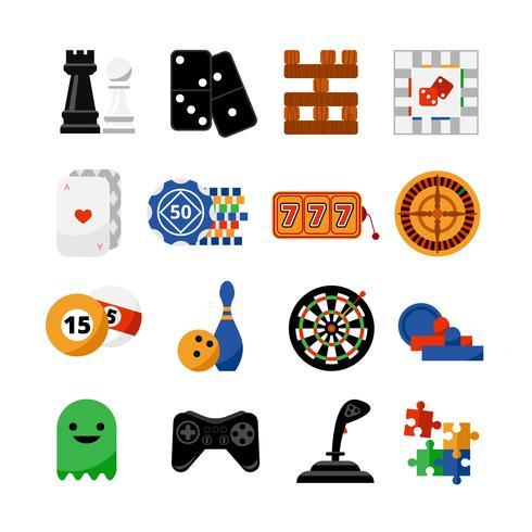 Gambling casino spel platt ikoner set vektor