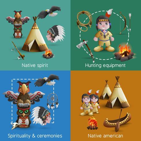 Native American Design Icons Set vektor