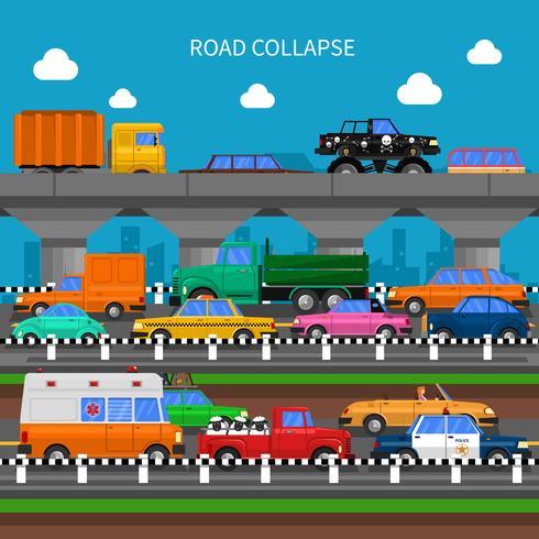Road Collapse Hintergrund vektor