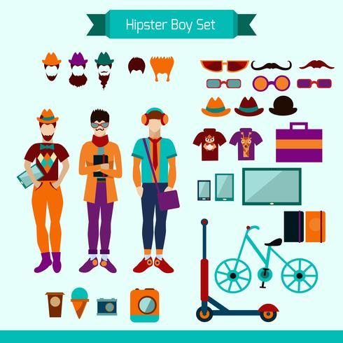 hipster pojkeuppsättning vektor