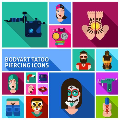 Bodyart Tattoo Piercing Bilder Set vektor