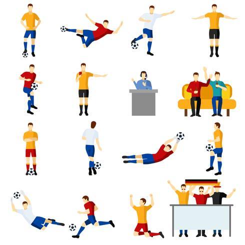 Flache Ikonen der Fußballspielleute eingestellt vektor