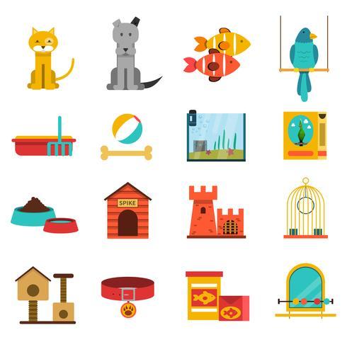Haustiere Icons Set vektor