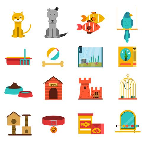 Husdjur ikoner Set vektor
