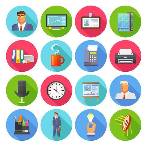 Office ikoner platt uppsättning vektor