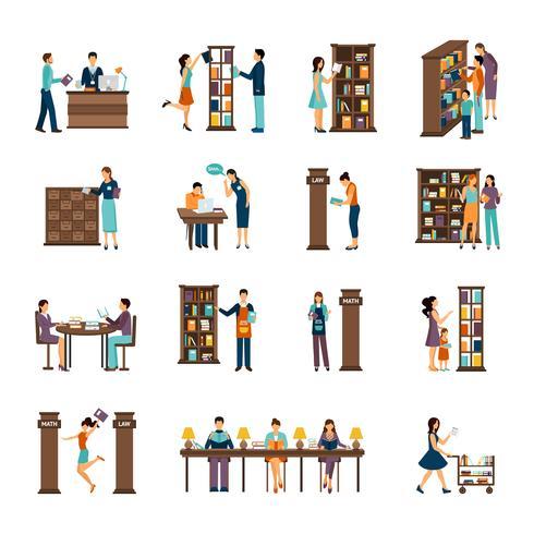Människor I Bibliotek Ikonuppsättning vektor