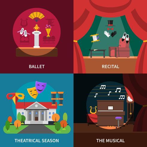 Theater Konzept Icons Set vektor
