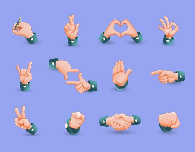 Icon Set von Handgesten vektor