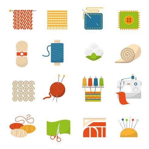 Textilindustrin ikoner vektor