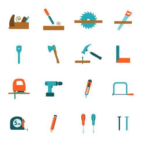 Flache Ikonen der Zimmereiwerkzeuge eingestellt vektor