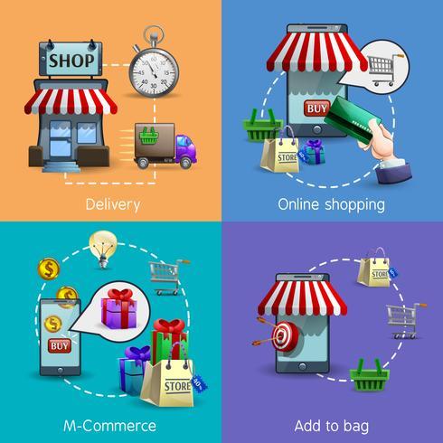 M-Commerce Icons Set vektor