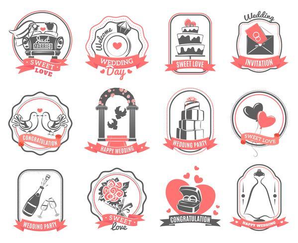 Bröllop äktenskap engagemang emblems disposition set vektor
