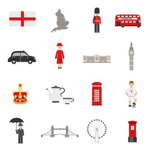 engelska kultur platt ikoner samlingar vektor