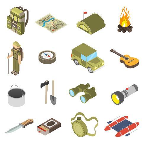 Sats av vandring och camping ikoner vektor